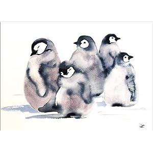 Posterlounge Leinwandbild 70 x 50 cm: Pinguin-Krippe von Zaira Dzhaubaeva – fertiges Wandbild, Bild auf Keilrahmen…
