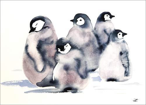 Poster 80 x 60 cm: Pinguin-Krippe von Zaira Dzhaubaeva - hochwertiger Kunstdruck, neues Kunstposter -