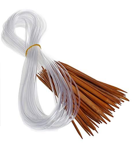 Tmade 18 Paires Aiguilles à Tricoter Circulaires en bambou à double pointe Crochet Différentes Tailles 2.0-10.0 mm