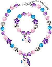 Chunky Bubblegum Licorne Collier Licorne Bracelet Ensemble Filles Cadeau, Petits Enfants Licorne Bijoux
