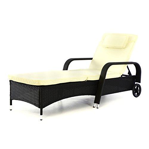 Rattan-Liege Sonnenliege Liegestuhl Campingliege – Polster weiß Gestell schwarz aus Poly Rattan und Stahl – 4-Fach verstellbar – mit 2 Rädern