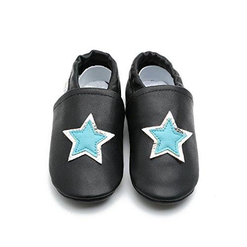 Liya's Hausschuhe Lederpuschen mit Teilgummisohle - #696 Stern in dunkelblau Schwarz