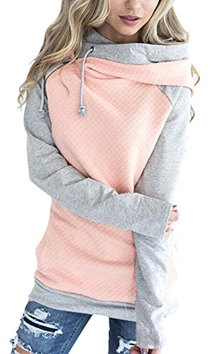 Aitos Womens Hoodies Long Sleeve Jumper Colorblock High Neck Sweatshirt Pullover Sweater Coat With Pocket Pink S