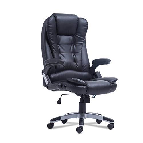 360 Grad-umdrehung Home Office Computer Schreibtisch Executive Ergonomische Höhenverstellbar 6 Punkt Wireless Game Massagestuhl (schwarz) -