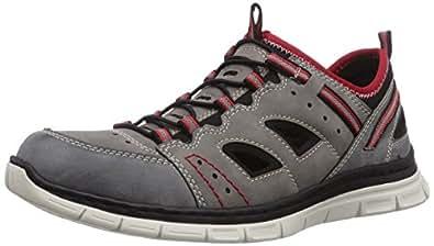 Rieker  B4855, Sneakers basses homme - Gris - Grau (rauch/cement/schwarz/rosso / 45), 41 EU