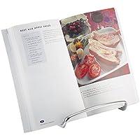 mDesign porte livre de cuisine pour le plan de travail – idéal comme support livre, comme support assiette ou pour la présentation de photos – porte-livre cuisine élégant – en acier – argenté