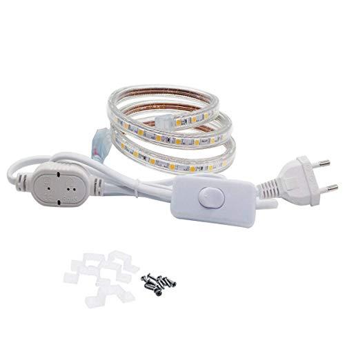 LED Streifen mit Schalter, 230V 5050 IP65 Lichtband (1 Meter, Warmweiß)