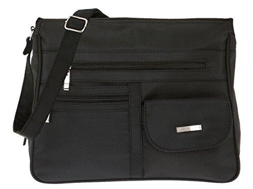 Handtasche ALESSANDRO MADRID Schultertasche Damentasche Microfaser Tasche 3055 + Schlüßeletui (Schwarz-Black) (Microfaser-handtasche Schwarze)