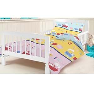 Junior Cot Bed Train Print Duvet Cover Set. Colour: Pink, Blue, Yellow with Colourful Train Design. Size: 120cm x 150cm