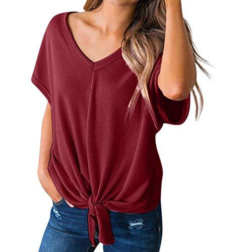 iYmitz DamenCasuasl Solid V-Ausschnitt Kurzarm Bandage Lose T-Shirt Top Bluse(Wein,L)