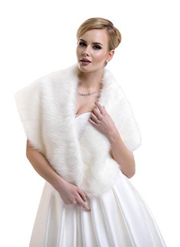 Lacey bell scialle donna stola matrimonio pelliccia ecologica volpe soprabito mantella ffj-68