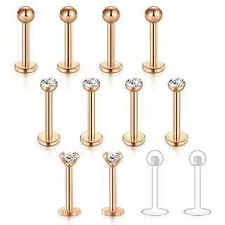 Zolure 16G Rose Gold Ball CZ Top Lip Labret Piercing Tragus Schmuck Helix Ohr Piercing klar Kristall Stangenlänge 8mm, 3 Stile
