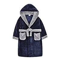 4 KIDZ Metzuyan Boys Contrast Two Tone Plush Fleece Dressing Gown Hooded Navy 9-10 Years