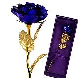 caidi Rosa, 24K Rosa Chapado en Oro, Elegante Flor romántico eterna con Caja Regalo de Lujo Ideal para AMIE San Valentín, Día de la Madre, Aniversario, Boda, Color Azul
