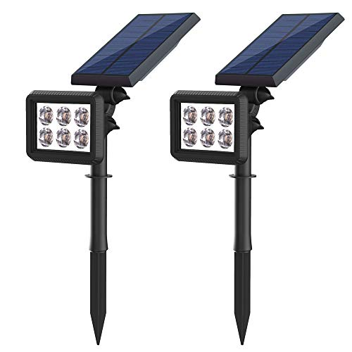 Lampe Solaire Extérieur,Eclairage Exterieur Solaire Etanche 500 Lumens,6 LED Lampes Solaires Jardin Avec 2 Modes Luminaire,Angle De Rotation Réglable,Eclairage 8-10 Heures,Pour Jardin,Maison etc