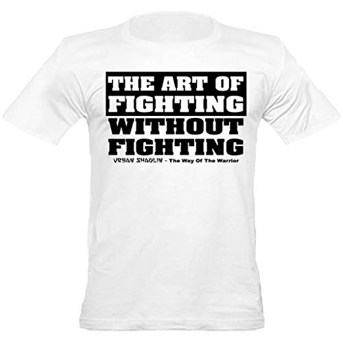 urban shaolin Mens Bruce Lee Inspired Quote The Art Of Fighting Crew Neck Fitted T Shirt
