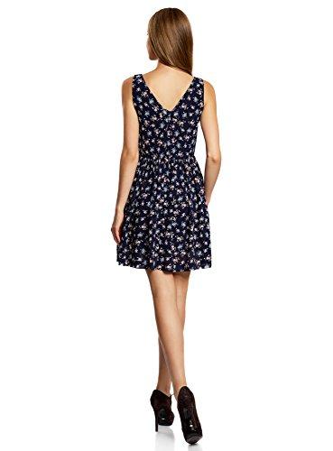 oodji Ultra Femme Robe Imprimée avec Noeud au Dos Bleu (7941F)