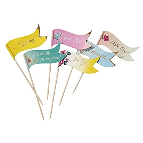 Talking Tables Truly Scrumptious Canape Flag Picks for a Tea Party or Birthday, Multicolor (24 Pack)