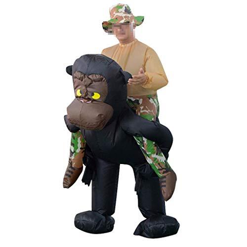 Reiten Kostüm Gorilla Ein - OLLVU Erwachsene Halloween Kreative Schimpansen Reiten Kostüm Party Requisiten Aufblasbare Kleidung Foto Szene Anordnung Eltern Kleidung (Color : Black, Size : 150-195cm)