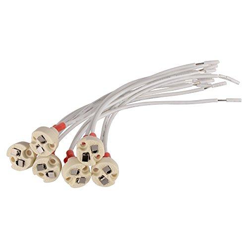 6 Bases double broche miniature en céramique résistant à la chaleur MR16 MR11 G4 GU5.3 SmartDealsPro avec fils de connexion pour rail de spots à encastrer