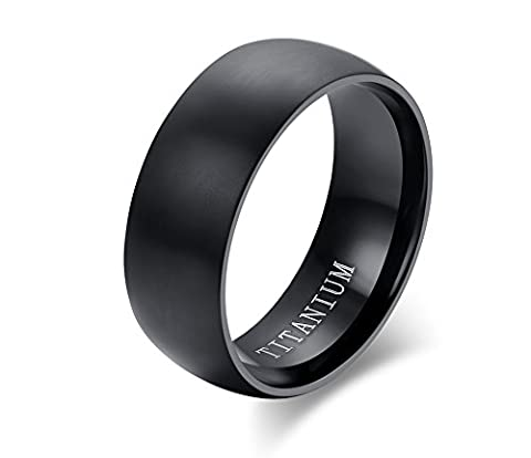 Vnox Men's Pure Titanium Dome Shape High Polish Wedding Engagement Band Ring Black Comfort Fit,8mm