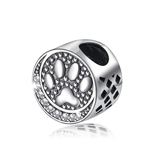 Hund Katze Fußabdruck Charms, Damen 925 Sterling Silber Bead Charms für Armband Herstellung, Ball & Spacer Charms Passen für Europäische Armbänder/Ketten, Feinen Schmuck von CELESTIA (Sterling Silber Katze Armband)
