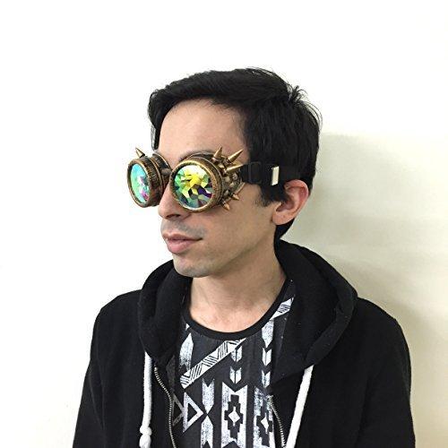 Gold Funkelnde Kaleidoskop Brille für Partys und (Binks Jar Jar Kostüme)