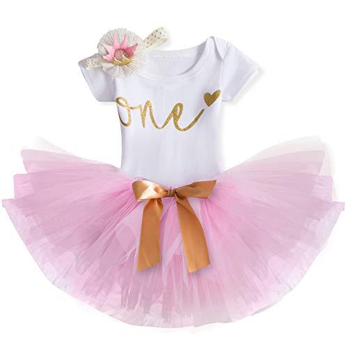 TTYAOVO Mädchen Rock Neugeborenen 3er Babys 1 Geburtstag Set/Outfits mit Romper + Tutu Kleid + Stirnband (02 Rosa, 1 Jahr)