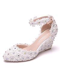 7,5 Cm Zapatos De Novia De Novia Cuña De Encaje Sandalias De Tacón Alto