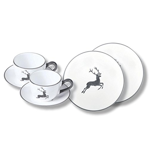 Gmundner Keramik Manufaktur 0319STSC06SET Grauer Hirsch Breakfast for Two Classic,