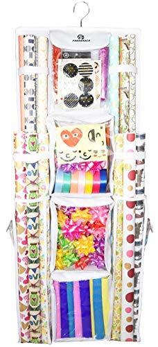 Freegrace doppelseitiges Geschenkpapier zum Aufhängen, groß, 40,6 x 104,1 cm, Geschenkpapierrollen, Aufbewahrungstasche, reißfest und platzsparend, Geschenktasche weiß