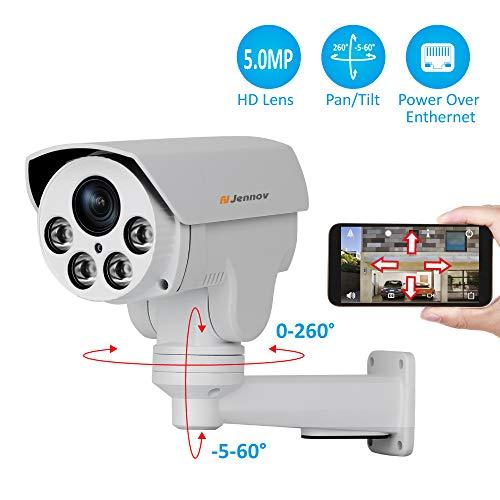 Jennov PoE PTZ IP Kamera 5MP Super HD H264++ Überwachungskamera 260° schwenkbar 60° neigbar 4x Fach Zoom mit Bewegungserkennung IR Nachtsicht IP66 wasserdicht Video & Audio Fernzugriff für Innen Außen