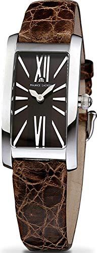 Maurice Lacroix Fiaba Damen-Armbanduhr Analog Quarz mit braunem Lederband FA2164-SS001-710