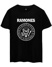 00596b4ad9f1b6 IUGENQL Amants T-Shirt Femme Col Rond Manches Courtes Série de Bandes  Ramones Loisir Tee Shirt Top Haut Imprimer Lettre Casual…