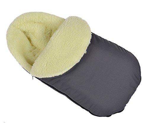 Baby Fußsack WinterFußsack für Kinderwagen Lammwolle Graphit mit Kaputze [071]