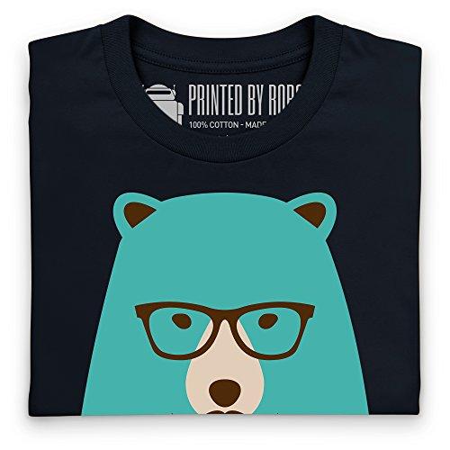 Hipster Bear T-Shirt, Herren Schwarz