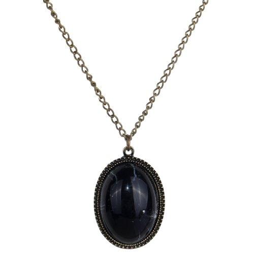 Yazilind Estilo vendimiae Lucky Negro Piedra Bronce Metal collar pendiente de cadena larga