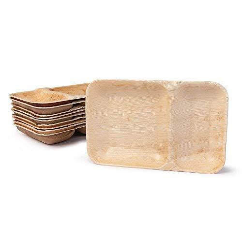 Box and tree | 25 Pièces Vaisselle Jetable en Feuille de Palmier| Rectangulaire 25x15cm avec 2 Portions Séparés |Vaisselle Jetable Biodegradable Compostables 100% | Individuelle, Texture Décorative