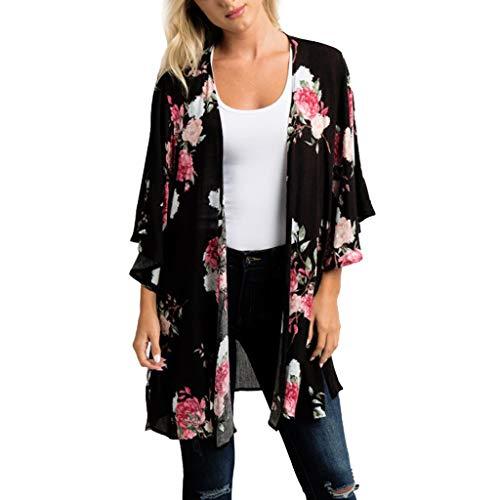 MRULIC Damen Florale Kimono Cardigan Boho Chiffon Sommerkleid Beach Cover up Leicht Tuch für die Sommermonate am Strand oder See (2XL, Z5-Schwarz) (Grün Swim Cover Up)