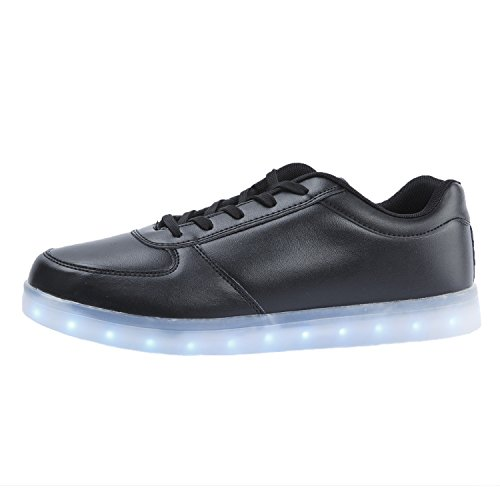 Oasap Women's Deluxe Rechargeable LED Light-Up Lace Up Flat Sneakers Black