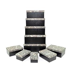 Gifts 4 All Occasions Limited SHATCHI-1299 - Cajas de almacenamiento con tapa de Shatchi para decoración del hogar, regalos de Navidad, suministros para fiestas 11678, multicolor