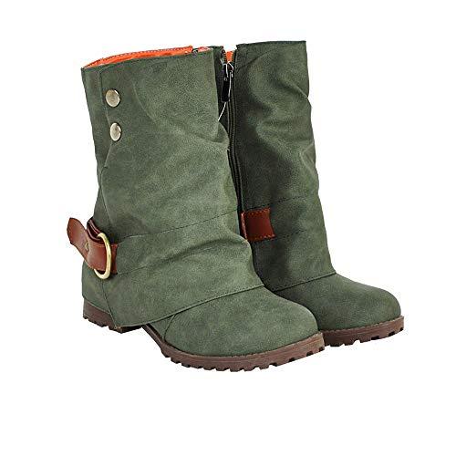 SUNNSEAN Damenstiefel Stiefeletten Damen Warme Kurze Lederstiefel Frauen Schnalle Kunstleder Patchwork Schuhe Casual Boots Mode Wildlederstiefel