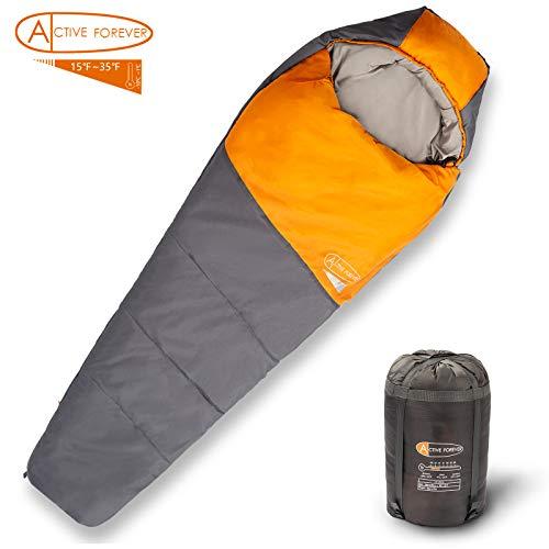 ACTIVE FOREVER Campeggio Sacco a Pelo - Autunno e Inverno - Attrezzatura da Outdoor, da Viaggio e All\'Aperto, Sacca per Il Trasporto Inclusa