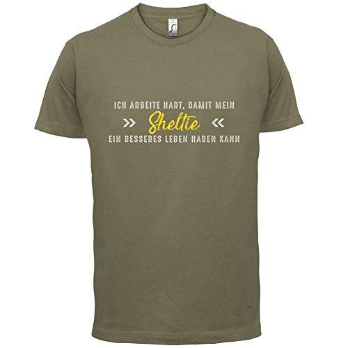 Ich arbeite hart, damit mein Sheltie ein besseres Leben haben kann - Herren T-Shirt - 12 Farben Khaki