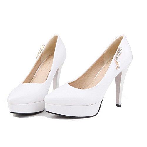 VogueZone009 Femme Tire à Talon Haut Pu Cuir Mosaïque Pointu Chaussures Légeres Blanc
