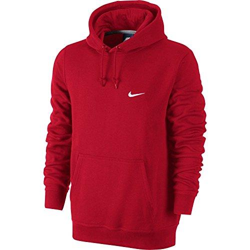 Nike Herren Kapuzenpullover Club Swoosh rot / weiß