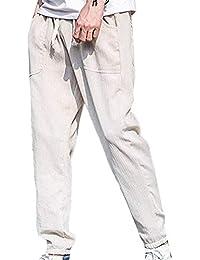 Pantalones De Lino Pantalones De Lino De Largo De Pantalones Hombre Slim  Fit Joven Hombres Pantalones 8cc43d9dede