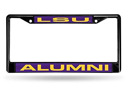 NCAA LSU Tigers Alumni Laser geschnitten eingelegten Standard Chrom Nummernschild Rahmen, 15,2x 31,1cm schwarz Lsu Laser