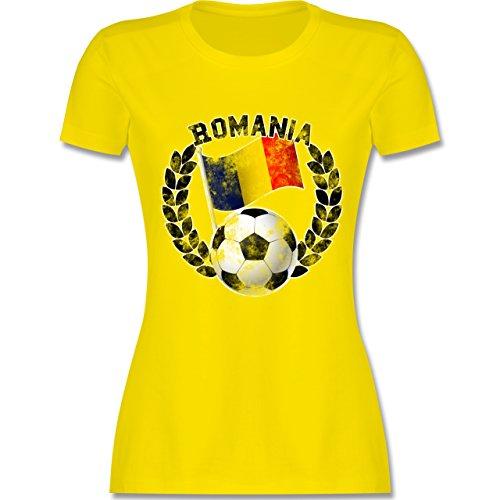 EM 2016 Frankreich Romania Flagge Fußball Vintage tailliertes Premium TShirt  mit Rundhalsausschnitt für Damen Lemon Gelb