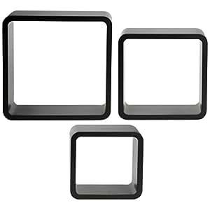Promobo - Set Lot 3 Etagères Gigognes Forme Cube Support Mural Art Déco Noir